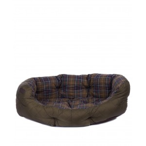 """Barbour 35"""" Quilted Dog Bed - Olive Textile"""