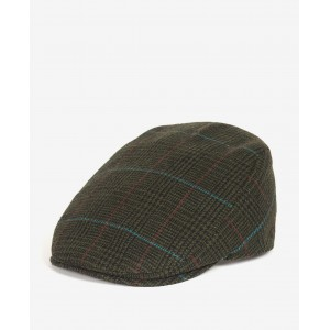 Barbour Cheviot Flat Cap - Dark Green Check
