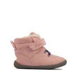Clarks Roamer Snug Toddler Boots - Light Pink Suede