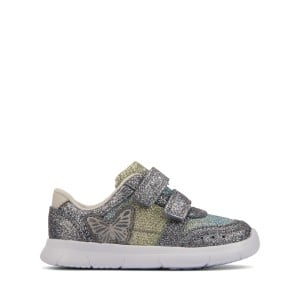 Clarks Ath Wing Toddler Trainers - Pewter Metallic Combination