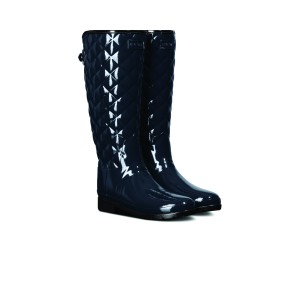 Hunter Refined Gloss Quilted Wft1031rgl Wellingtons - Black