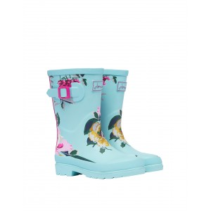 Joules Jnr Welly Print 214809 Wellies - Blue Floral