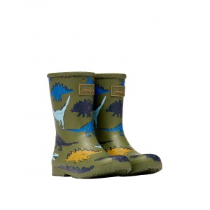 Joules Jnr Roll Up 214820 Wellies - Green Dino