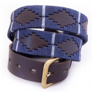 Pioneros 121 Polo Belt - Navy/Silver