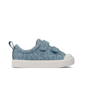 Clarks City Bright Toddler Canvas Shoes - Mid Blue