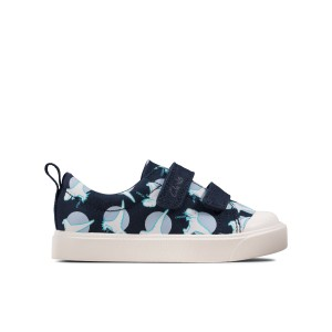 Clarks City Bright Toddler Canvas Shoes - Navy Interest
