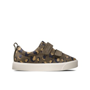 Clarks City Bright Toddler Canvas Shoes - Olive Camo