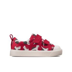 Clarks City Bright Toddler Canvas Shoes - Red Interest