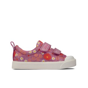 Clarks City Bright Toddler Canvas Shoes - Pink Floral