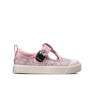 Clarks City Dance T Canvas Shoes - Pink Floral