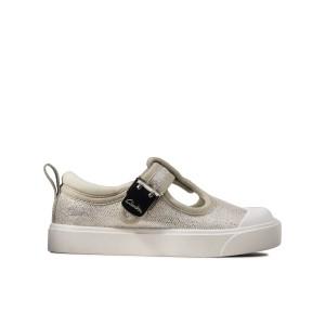 Clarks City Dance T Canvas Shoes - Silver