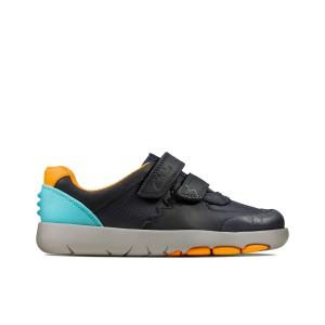 Clarks Rex Quest Kid Shoes - Navy