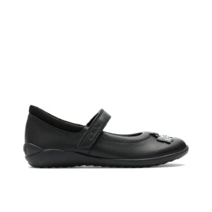 Clarks Vibrant Trail Kid School Shoes - Black