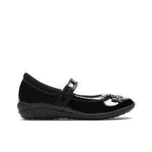 Clarks Vibrant Trail Kid School Shoes - Black Patent