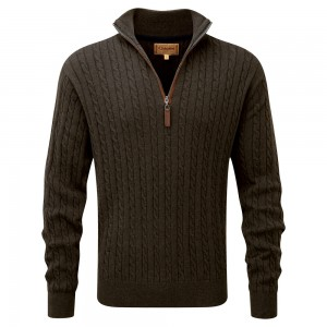 Schoffel Cotton Cashmere Cable Jumper - Loden Green