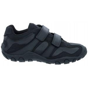 Geox Crush J7328M School Shoes - Black Leather