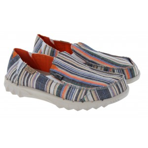 Hey Dude Farty Chambray D10019752 Shoes - Chambray Stripes Orange