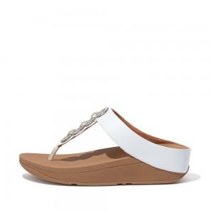 Fitflop Fino Sparkle CC6 Toe Post Sandals - Urban White