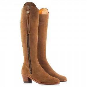 Fairfax & Favor Heeled Regina Boots - Tan Suede