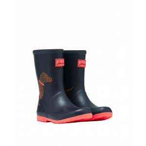 Joules Jnr Roll Up 212681 Wellies - Blue Sausage Dog