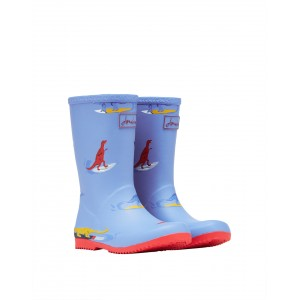 Joules Junior Roll Up 210097 Wellies - Blue Dinos