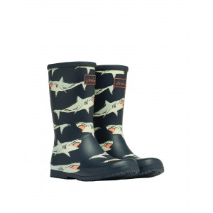 Joules Junior Roll Up 210097 Wellies- Navy Sharks