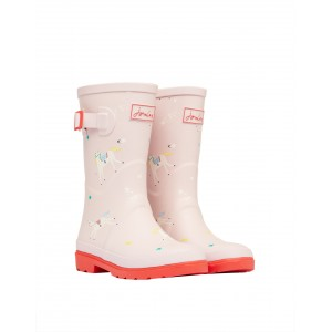 Joules Junior Roll Up 210895 Wellies - Pink Unicorns
