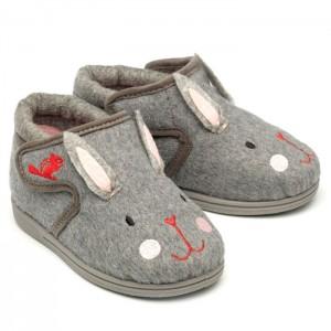 Chipmunks Katie Rabbit Slippers - Grey