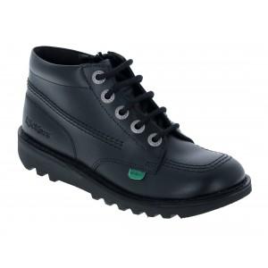 Kickers Kick Hi Zip Infant School Shoes - Black