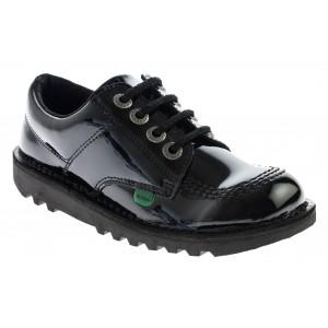 Kickers Kick Lo Youth School Shoes - Black Patent