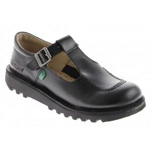 Kickers Kick T Bar Junior Shoes - Black
