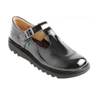 Kickers Kick T Bar Core Youth Shoes - Black Patent