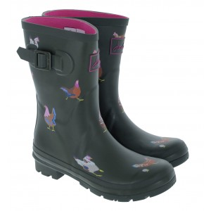 Joules Molly 212646 Wellingtons - Khaki Chickens