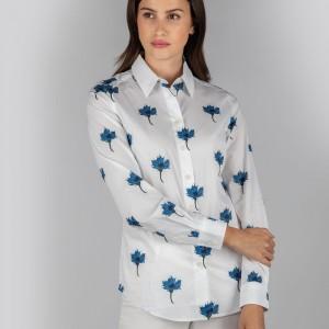 Schoffel Norfolk Shirt 4109 - Cornflower Print