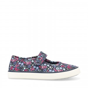 Start-Rite Blossom Floral Canvas Shoes - Navy
