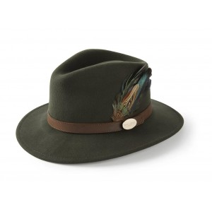 Hicks & Brown Suffolk Fedora Classic Feather- Olive