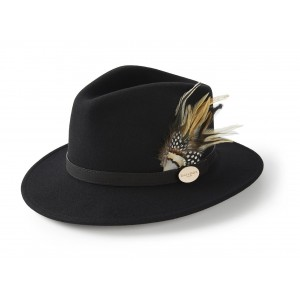 Hicks & Brown Suffolk Fedora Guinea and Pheasant Feather- Black