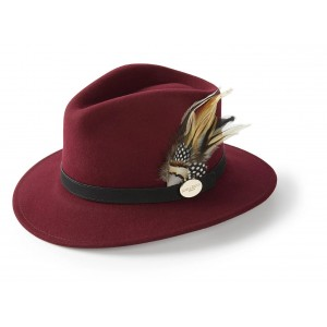 Hicks & Brown Suffolk Fedora Guinea and Pheasant Feather- Maroon