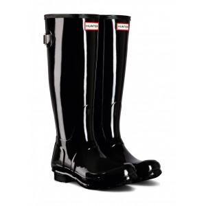 Hunter Womens Orginal Tall Back Adjustable Gloss Wft1001rgl Wellingtons - Black
