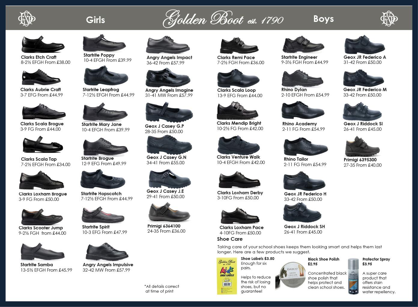 DCPS school shoe list